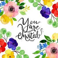 Cartão de convite floral aquarela vetor