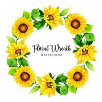 Quadro de aquarela grinalda Floral vetor