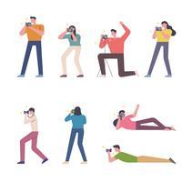 Conjunto de caracteres de pessoas tirando fotos