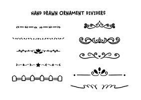 Conjunto de divisores de mão desenhada vetor