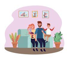 Família no sofá em casa vetor