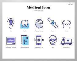 Ícones médicos LineColor pack vetor