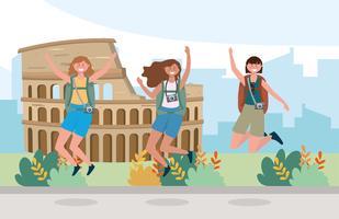 Amigos de mulheres pulando na frente do Coliseu