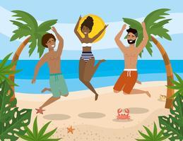 Homens e mulher pulando na praia vetor