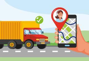 Serviço de camionagem com a mão segurando o telefone com localização GPS