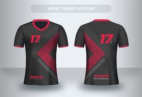 Projeto de camisa de futebol triângulo vermelho. Vista frontal e traseira de camiseta uniforme.