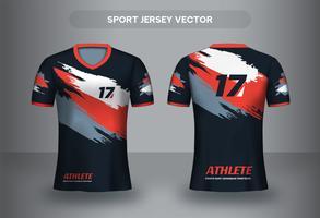 Design de camisa de futebol de traçado de pincel. Vista frontal e traseira de camiseta uniforme. vetor