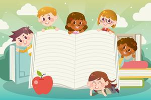 Adoramos ler com espaço para texto vetor