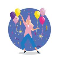 Mulher dançando com balões e chapéu de festa