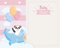 Cartão de chuveiro de bebê de panda em avião vetor
