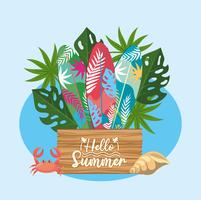 Olá placa de madeira de verão com pranchas de surf e plantas vetor