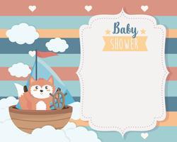 Cartão de chuveiro de bebê com raposa no barco vetor