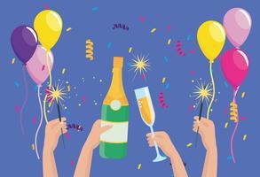 Mãos com garrafas de champanhe e copos