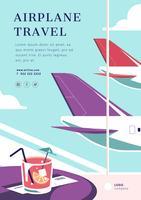 Layout de pôster de viagens de avião vetor