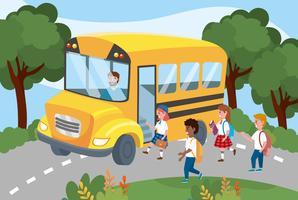 Jovens estudantes subindo no ônibus escolar vetor