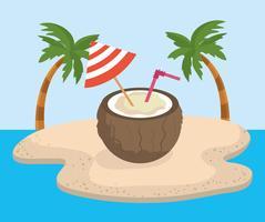 Bebida de coco com decoração de guarda-chuva vetor