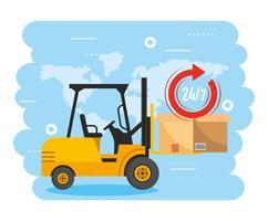 Pacote de caixa de elevação de empilhadeira e serviço de entrega