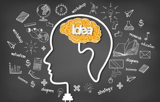 Cérebro humano na cabeça no fundo do quadro-negro com rabiscos vetor