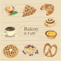 pacote de ilustração de padaria e café vetor
