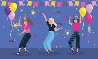 Mulheres dançando com banner e balões de festa