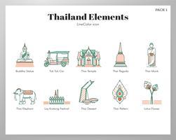 Pacote de elementos da Tailândia vetor