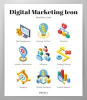 Ícones de marketing digital Pacote isomético vetor