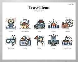 Ícones de viagens LineColor pack vetor