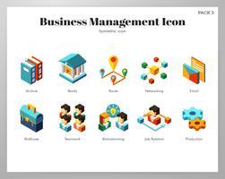 Pacote isométrico de ícones de gestão de negócios vetor