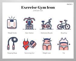 Ícones de ginástica exercício LineColor pack