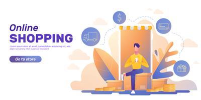 Layout de banner de compras online vetor