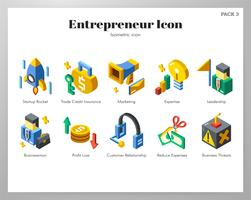Conjunto isométrico de ícones de empreendedor vetor