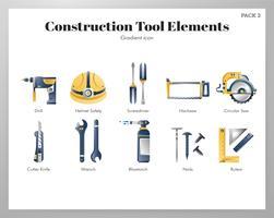 Pacote de gradiente de elementos de ferramenta de construção