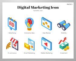 Conjunto de Isometic de ícones de marketing digital vetor