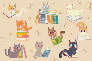 Personagem de gatos bonito dos desenhos animados, lendo um pacote de livros