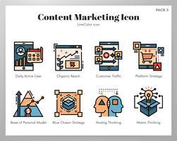 Ícones de marketing de conteúdo LineColor set vetor