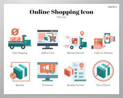 Pacote plano de ícones de compras online vetor