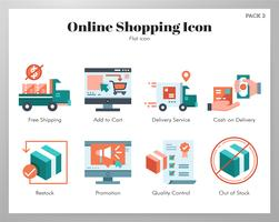 Pacote plano de ícones de compras online