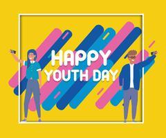 Cartaz feliz dia da juventude vetor
