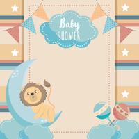 Cartão de chuveiro de bebê com leão na lua vetor