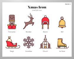 Conjunto de ícones de Natal LineColor