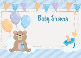 Cartão de chuveiro de bebê com urso e balões vetor