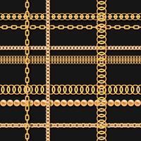 Correntes de ouro e miçangas no padrão sem emenda de luxo preto vetor