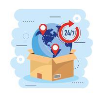 Caixa com globo e localização