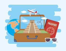 Mala com templo de inscrições e passaporte com avião
