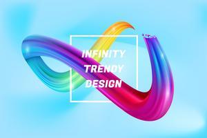 Fundo colorido da forma do infinito, líquido colorido do infinito 3d