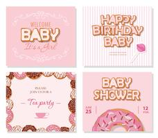 Cartões de chuveiro de bebê para meninas. Modelos de doces em rosa pastel. vetor