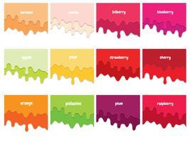 Conjunto de xarope de frutas derretido. Papel 3d cortado camadas. Copie o espaço para texto. vetor