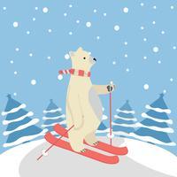 Urso polar bonito feliz esquiar com fundo de árvore