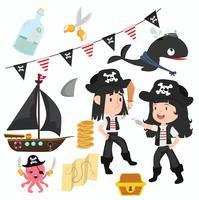 Bonito de coleção de acessórios e símbolos de pirata vetor