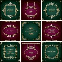 Conjunto de molduras e bordas de luxo dourado. Design de luxo. vetor